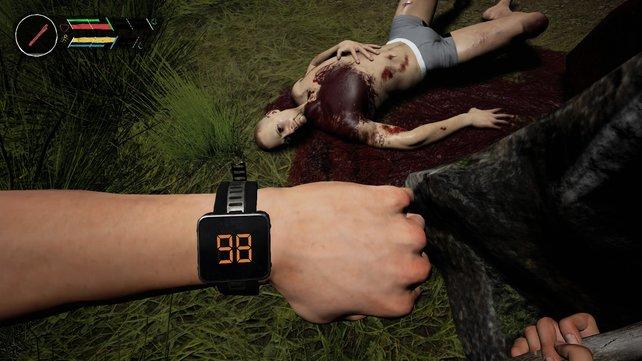 Das Gerät an eurem Handgelenk zeigt an, wie viele eurer Konkurrenten noch am Leben sind.