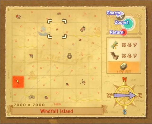 Die Karte von The Wind Waker. Deku-Baum, Drakonia und Piratenbucht sind hier die wichtigen Orte, um die es geht.
