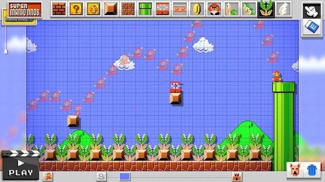 Super Mario Maker zeigt euch auf Kommando Marios Bewegungsspur von eurem letzten Probespiel an. Vielleicht hilft euch das ja bei der präzisen Platzierung einzelner Blöcke.
