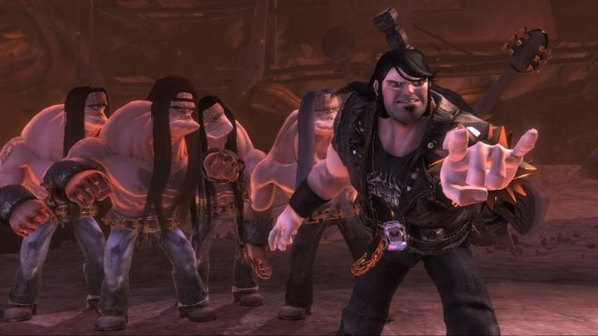 Eddie führt eine Gruppe Headbanger (man beachte die ausgeprägte Nackenmuskulatur) in die Schlacht.