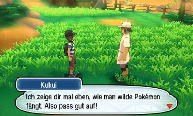 Prof. Kukui zeigt euch bei Spielbeginn, wie ihr Pokémon fangen könnt.