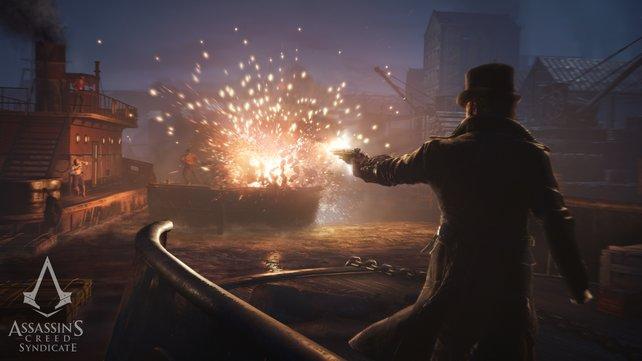 Zündende Ideen: Ein Schuss und schon gehen die explosiven Fässer in die Luft.