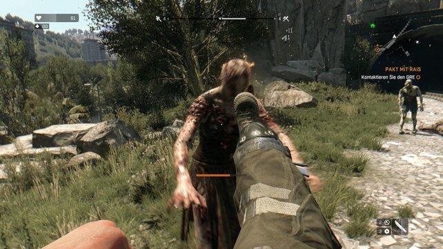 Dieser Zombie wollte euer Hirn fressen, doch dafür frisst er erstmal euren Stiefel!