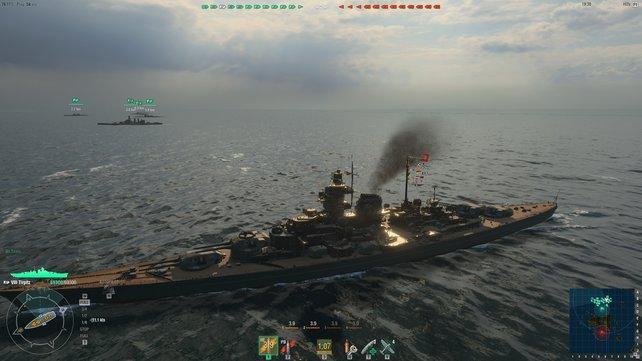 Die Tirpitz mit Tarnbemalung und kompletter Beflaggung bringt im Gefecht ordentlich Spielgeld und Erfahrung, kostet aber auch viel Echtgeld!