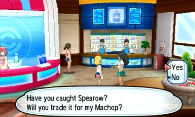 Diese Trainerin möchte ihr Machollo gegen ein Habitak tauschen.