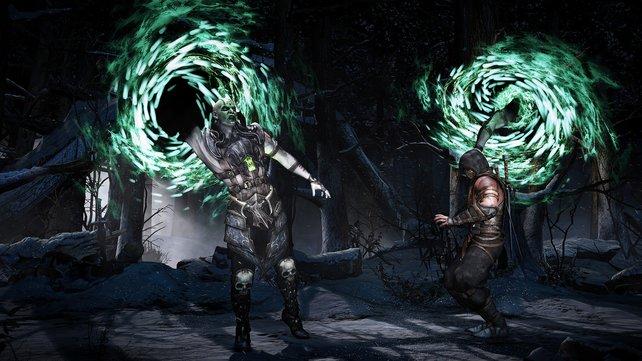 Gemeiner Trick: Quan Chi öffnet ein Portal und packt Scrpion von hinten am Genick.
