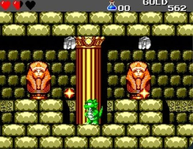 Wonder Boy 3 - The Dragon's Trap erscheint 1989 für das Sega Master System. Ihr seid gerade als Drache unterwegs.