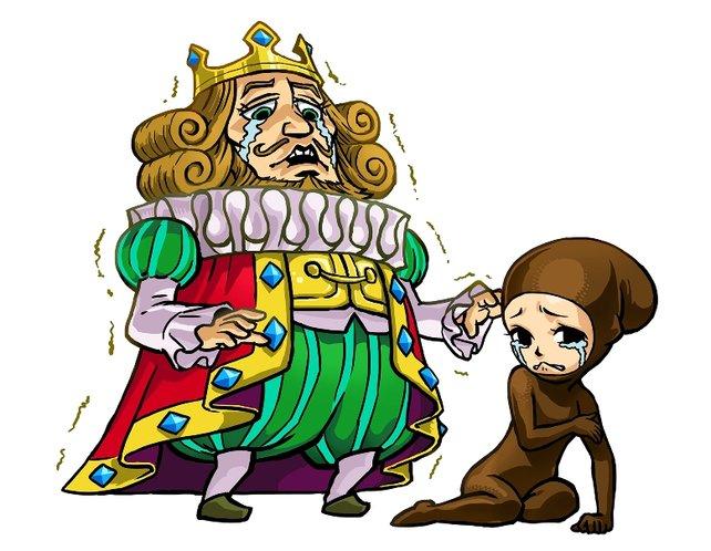 König Lockfried ist über das beklagenswerte Schicksal seiner Tochter genauso bestürzt wie sie selbst.