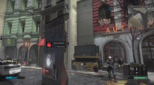 Im Hintergrund seht ihr den Aufzug, der euch zum letzten Missionsziel führt.