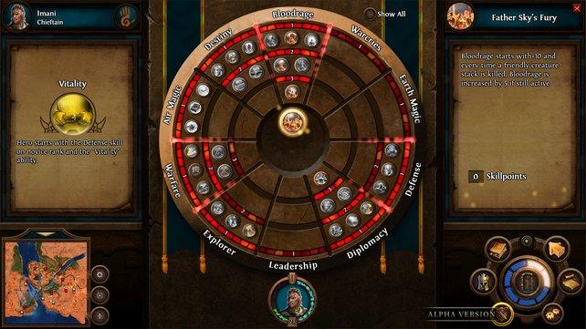 So sieht das Fertigkeitenrad von Heroes 7 aus.