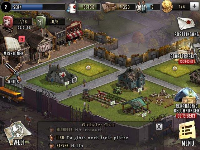 In eurem Stützpunkt baut ihr neue Gebäude und schickt Teams auf Zombiejagd.