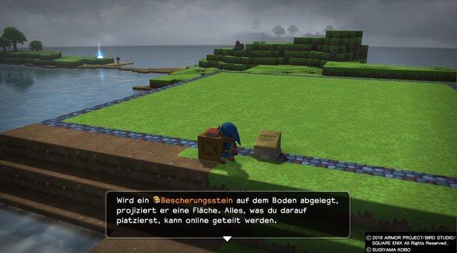 Der Bescherungsstein in Dragon Quest Builders ist braun und steht hier neben unserer Spielfigur.