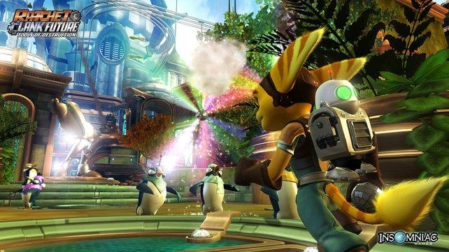Die Disco-Kugel bringt alle zum Tanzen. Selbst Ratchet und Clank wippen ein wenig mit dem Groovitron mit.