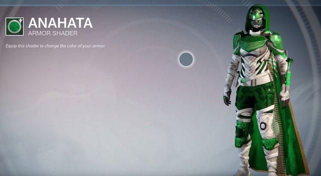 Anahata: Eine seltene Kombination aus grünen und weißen Rüstungsteilen - Tarnmuster inklusive.