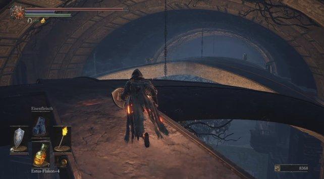 Zwischen dem Ritter und dem Armbrustschützen befindet sich die geheime Plattform.