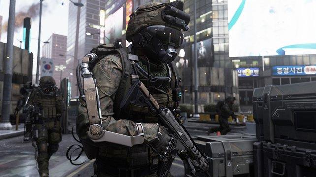 Das Exoskelett verleiht den Soldaten übermenschliche Kräfte.