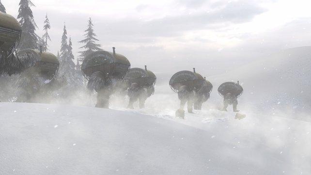 Adventure mit Fantasy-Einschlag: Ihr sollt die Nomaden bei ihrer Wanderschaft zur Heiligen Stätte ihrer riesigen Schneestrauße begleiten.