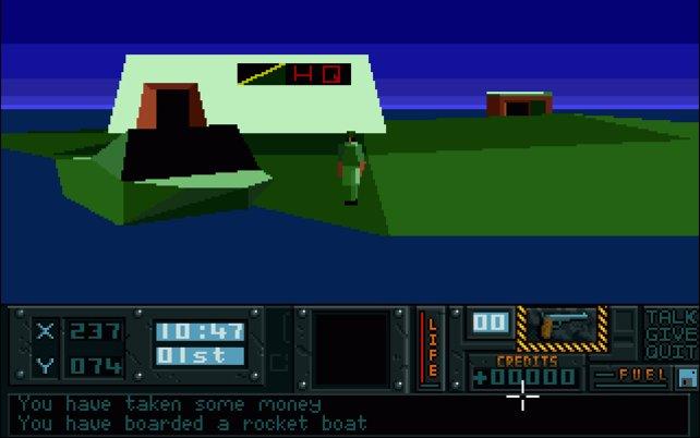 Mit dem kleinen Polygon-Männchen bereist ihr verschiedene Inseln und könnt sogar Fahrzeuge wie dieses Boot benutzen.