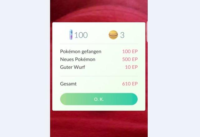 Beim Pokémon Fangen summieren sich die erhaltenen Erfahrungspunkte sehr schnell.