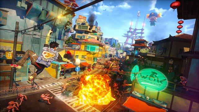 In der farbenfrohen Spielwelt sind die Möglichkeiten grenzenlos - und die Weitsicht nahezu auch.