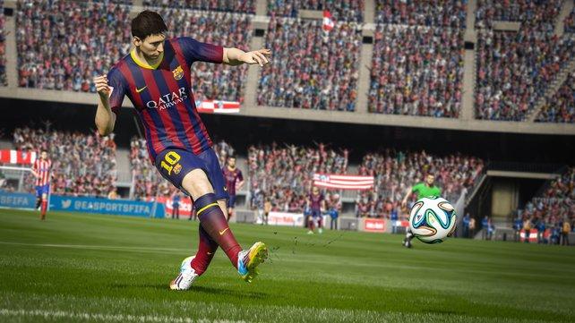 Der Argentinier Lionel Messi zieht gekonnt ab!