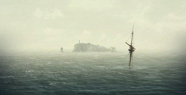 Ein versunkenes Schiff und eine ferne Insel im Hintergrund. Was ist hier passiert?