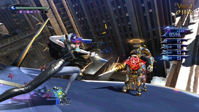 Auf einem Düsenjet Engel bekämpfen ... Bayonetta in ihrem Element.
