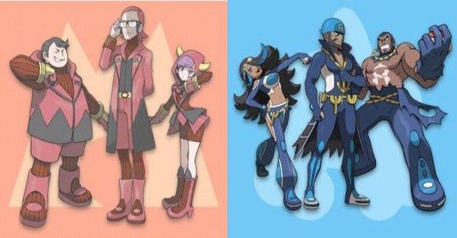 Team Magma (links) und Team Aqua (rechts) sind die beiden neuen Verbrecherorganisationen