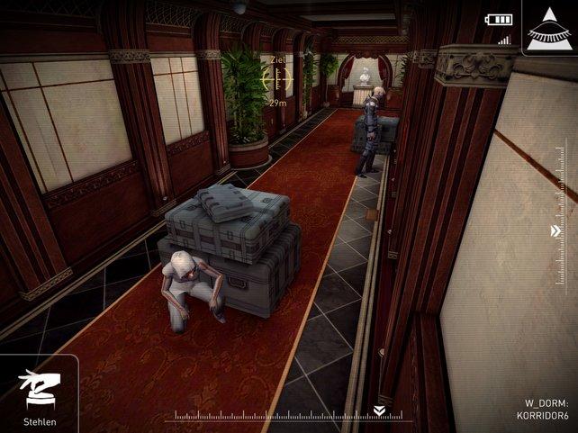 Per Überwachungskameras lotst ihr die meist wehrlose Heldin an Patrouillen vorbei.