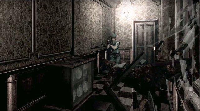Resident Evil: Fensterscheiben klirren, Zombie-Hunde fallen  Jill Valentine an.