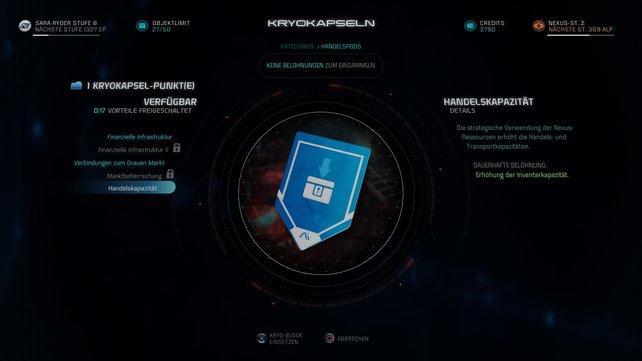 Kryokapsel-Punkte liefern euch Boni über die gesamte Reise in Mass Effect - Andromeda.