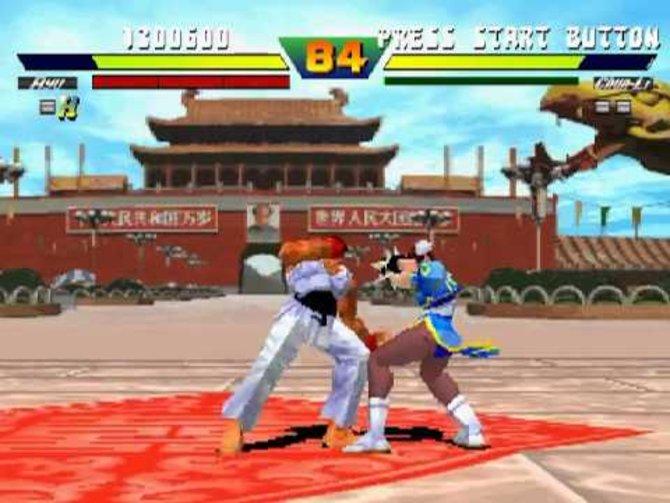 Hadouken! Die Straßenkämpfer rund um Ryu und Chun-Li lassen sich auch auf der PS One steuern. (Street Fighter Ex Plus Alpha)