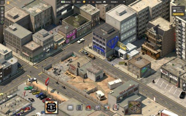 So sieht die Stadt im kostenlosen Online-Aufbauspiel Bloody Roads aus.
