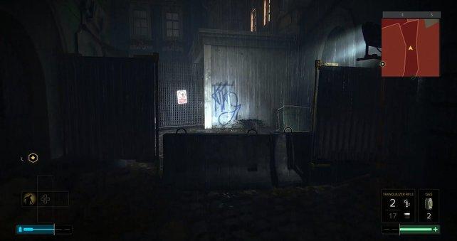 Ihr müsst auf die Garage rechts gelangen.