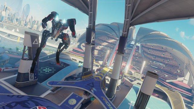 Massensport der Zukunft: Hüpfende Roboter bekriegen sich auf diesem Spielfeld.