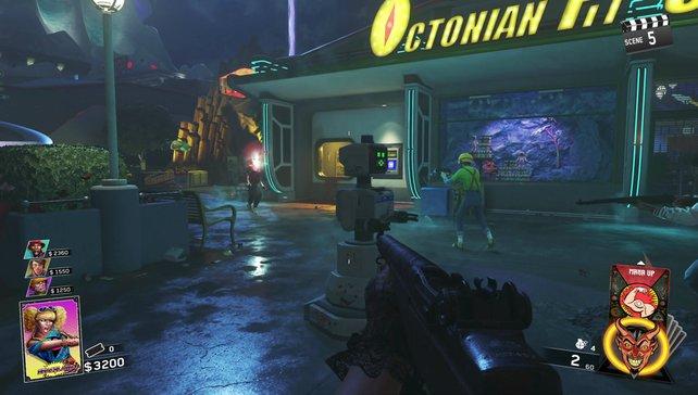 Das schrillbunte Szenario im Neon-Look wirkt witzig, aber kaum atmosphärisch.