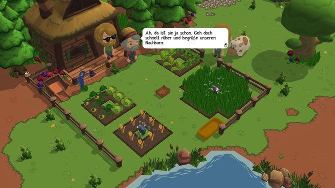 Für die Farm 'ne Kuh! Geht zum Nachbarn und sprecht mit ihm.