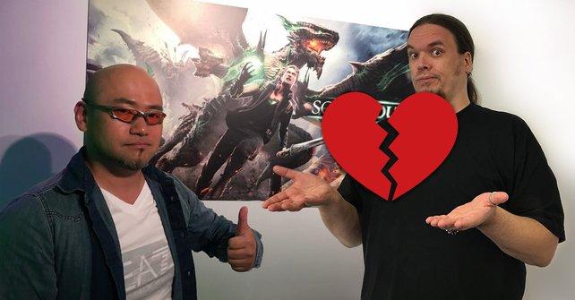 Chefentwickler Hideki Kamiya (links) von Platinum Games mit Onkel Jo.