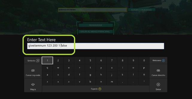In-Game-Beispiel: So sollte die Eingabe einer Item-ID auf der Xbox One aussehen.