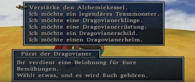 Nach dem Kampf gewährt euch der Fürst der Dragovianer einen Wunsch - ihr habt die Wahl!