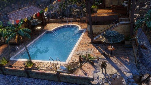 Ja, man darf auch zwischendurch im Pool entspannen.