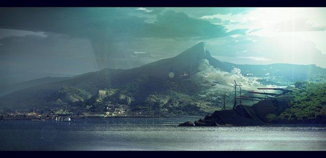 Sergey Kolesov, einer der Grafiker für Dishonored 2, zeigt den Hafen der neuen Spielwelt Karnaca. Die Sonne steigt auf der einen Seite auf, während es auf der anderen Seite noch regnet und vom Gebirge Wind aufzieht.