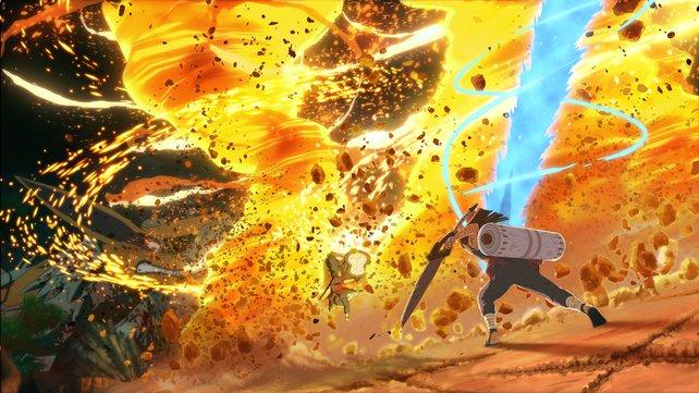 Feuerwirbel versperren Hashirama mit seiner Schriftrolle den Weg zum neunschwänzigen Fuchs.