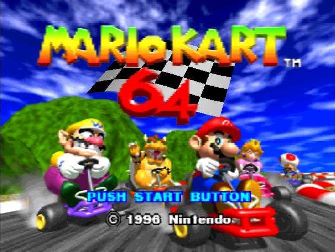 Der Haupt-Startbildschirm von Mario Kart 64 auf dem Nintendo 64.