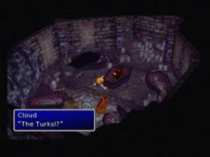 Cloud findet Vincent in der ShinRa-Villa in Final Fantasy 7.