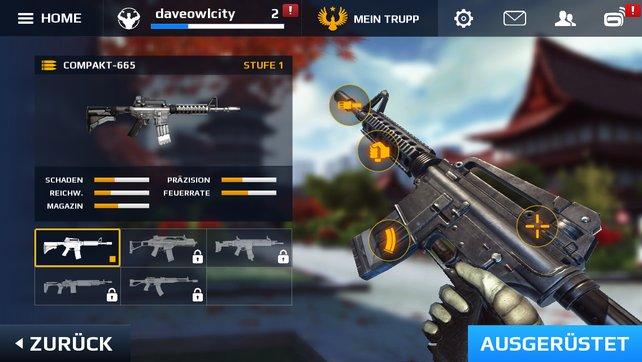 Allein an einer Waffe gibt es mehrere Komponenten, die ihr aufrüsten könnt.