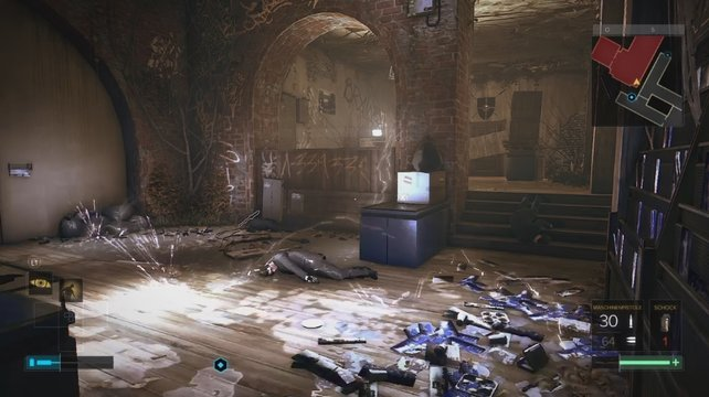 Aktiviert ihr den Unterbrecher, dann füllt sich der Raum mit tödlichen Blitzen.