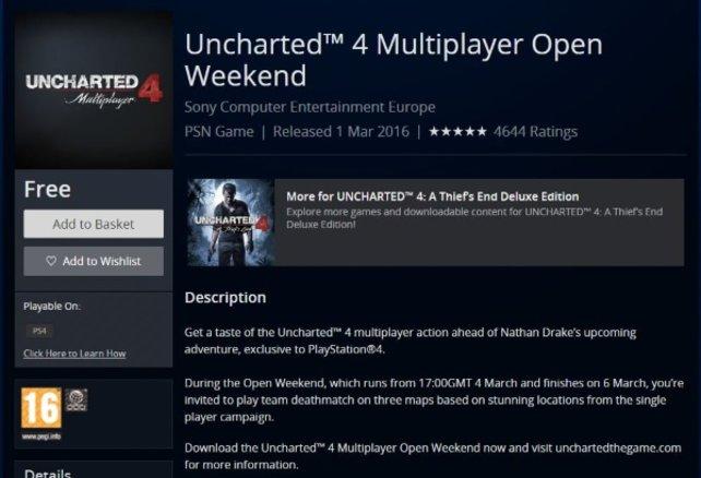Hier seht ihr den Eintrag, der den Listeneintrag der offenen Demo von Uncharted 4 - A Thief's End zeigt.