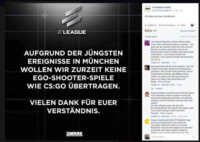Auf Facebook kündigt Pro 7 das vorläufige E-Sport-Aus an.