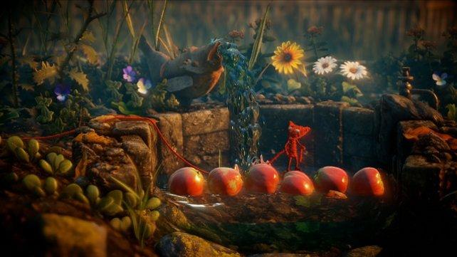 Mit Hilfe der Äpfel gelangt Yarny über den Tümpel.